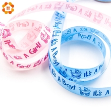 10Yards It's A Boy/Girl Satin Ribbon Packing Tape For DIY Crafts Gift Packing Belt Bow & Sewing Accessories Baby Shower Decor