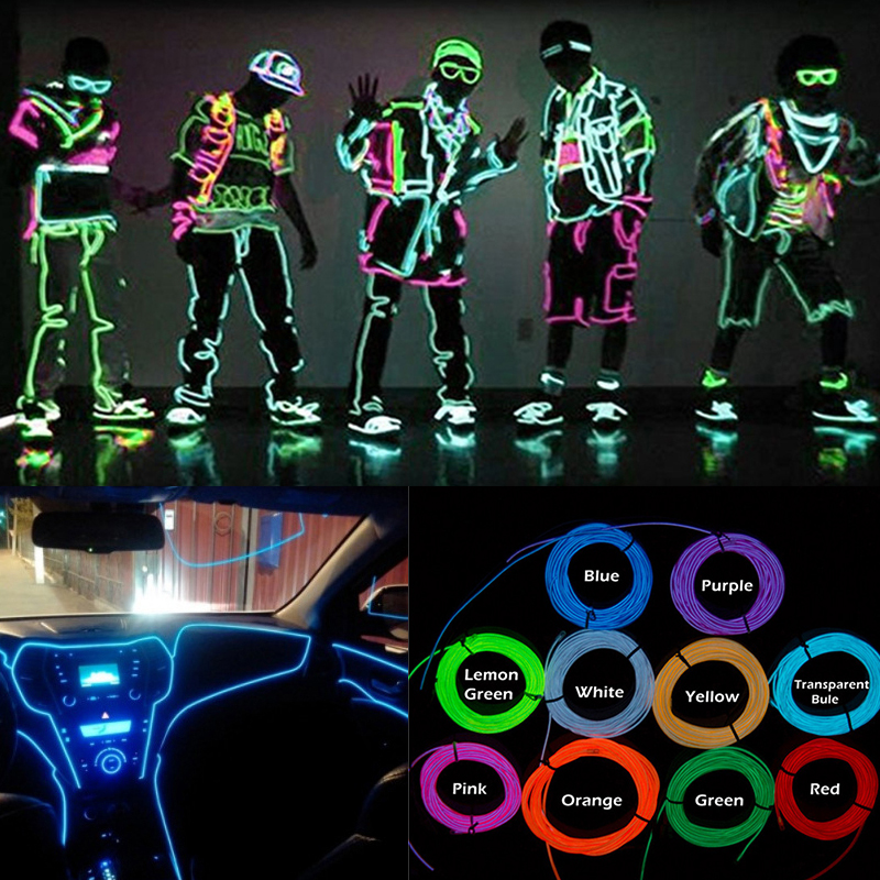 Neon Light EL Wire 10 Colors 1m 2m 3m 5m LED Strip With Controller For Car Dance Party Bike Clothing Decoration Lighting