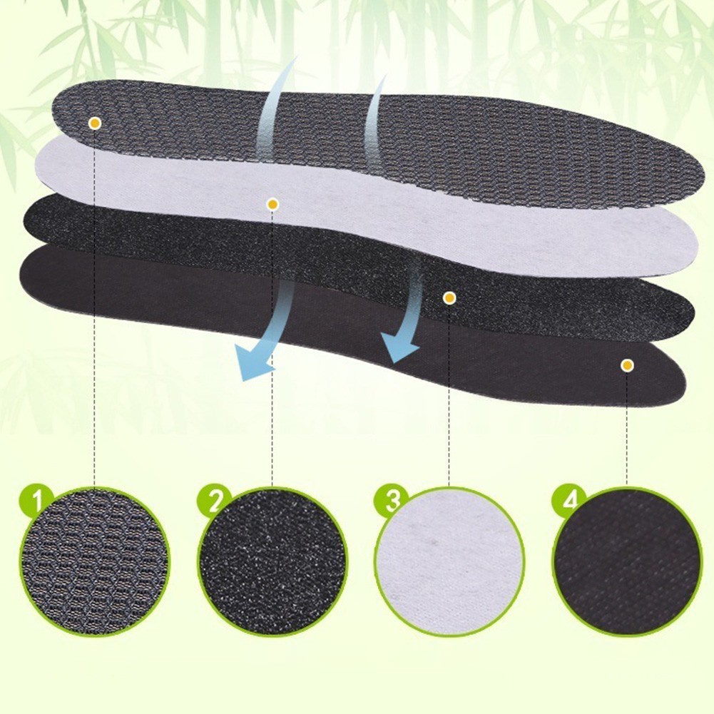 Bamboo Charcoal Breathable Dry Deodorant Unisex Sports Care Outdoor Antibacterial Cushion Hiking Insoles Shoe Pads Ice Silk Foot