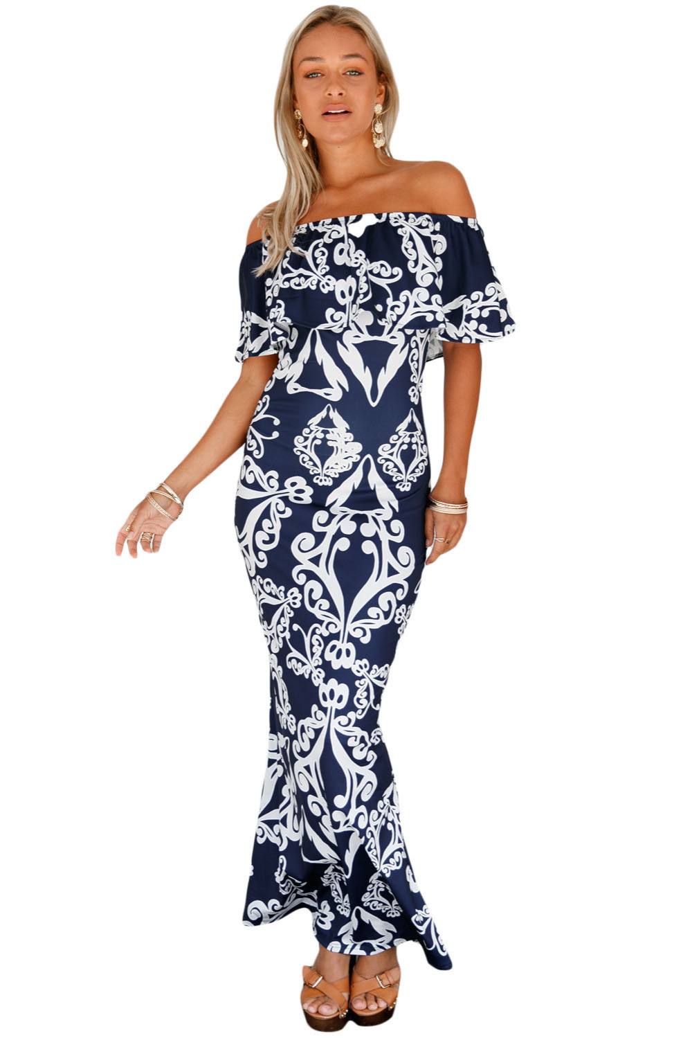 sexy Bohemian Brief Night Clubwear work Formal party Ankle-Length White Tendril Print Navy Off-the-shoulder Maxi Dress 61189-6