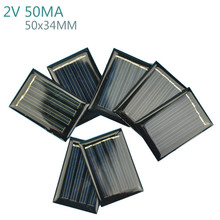 AIYIMA 10Pcs Solar Panels Battery Power Solars Charging DIY Rechargeable Batteries 2V 50MA 50x34MM Solar Panel