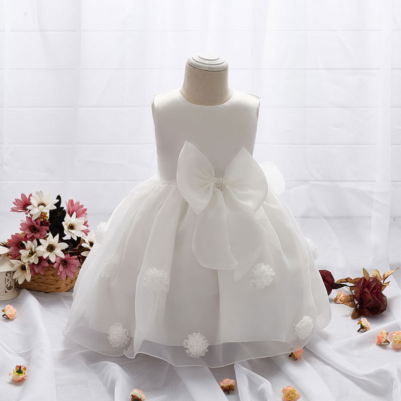 2020 dress for toddler girl long sleeve white wedding dresses baby girl 1 year birthday wear toddler girl lace christening ball gown k1
