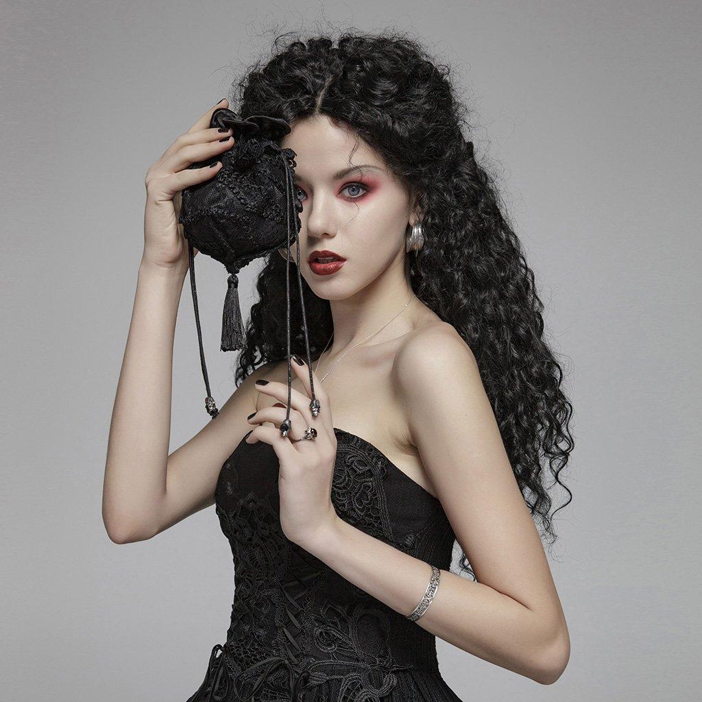 PUNK RAVE Women Gothic Lolita Lace Small Hand Bag Women Evening Party Elegant Skull Bag