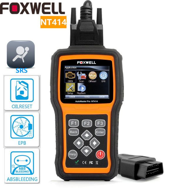 Foxwell nt414 herramienta de análisis ecu auto escáner de diagnóstico para la transmisión del motor aceite epb abs srs airbag fallas como creader viii