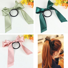 Women Hair Accessories Rubber Bands Tiara Satin Ribbon Hair Bow Elastic Hair Band Rope Scrunchies Ponytail Holder Gum for Girls(China)
