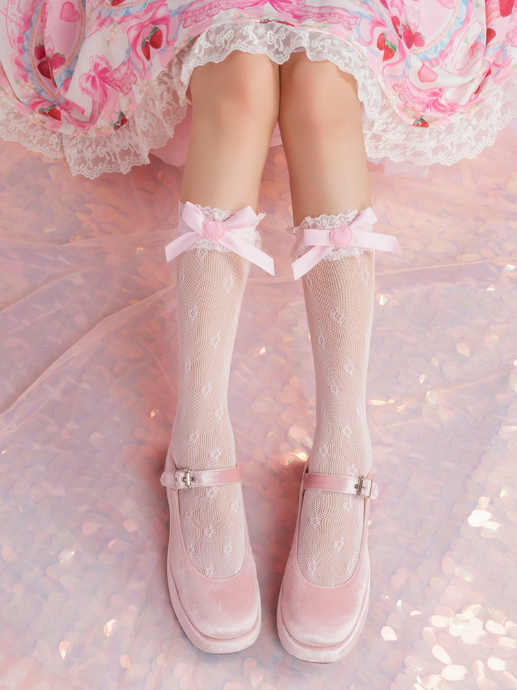 Princess Sweet Lolita Stockings Japanese Sweet Girl Love And Bow Knot Sweet Lace Stockings Students Thin Stockings WGR125