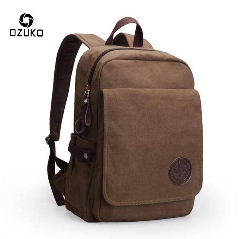 2017 OZUKO Fashion Men Backpack Canvas Bag Mochila for Teenagers Male Women Vintage Casual School Bag Travel Rucksack Laptop Bag