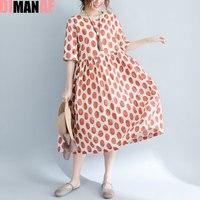 DIMANAF Plus Size Dress Summer Women 2017 New Linen Polka Dot Sweet Style Dress Elegant Casual