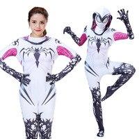 Halloween New Spider Gwen Stacy Spandex Lycra Zentai Spiderman Cosplay Girls Women Female Spider Suit Anti Venom Gwen Costumes