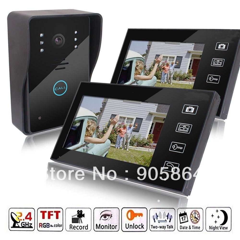 HD 7 2 4GHz Wireless Video Door Phone Vidoe Intercom Doorbell Home Security IR font b