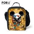 Forudesigns vintage cool 3d skull imprimir caja de comida bolsas de almuerzo para los niños térmica instulated maletín para el almuerzo de picnic enfriador de bolsas con cremallera