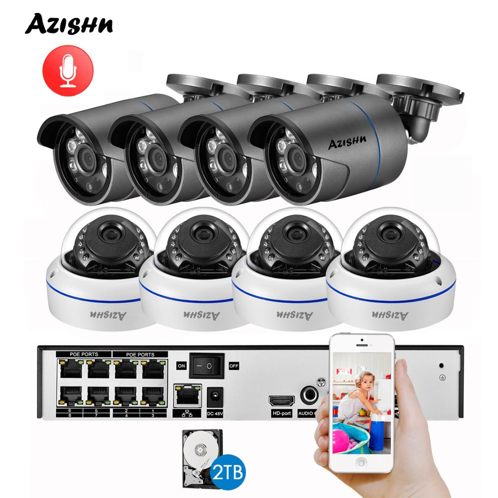 AZISHN H.265 8CH 4MP POE NVR Kit Audio Sound CCTV System 4.0MP Dome Security IP Camera P2P Indoor Outdoor Video Surveillance Set image