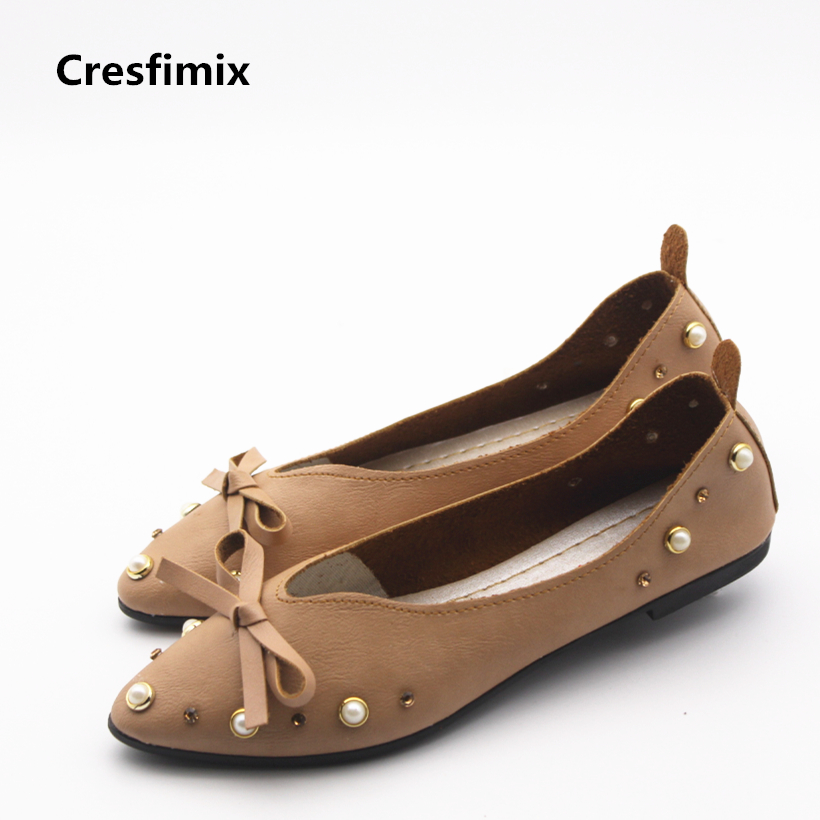 Cresfimix women cute spring & summer flat shoes lady plus size casual slip on flats with rivet female fashion shoes sapatos new 2017 spring summer women shoes pointed toe high quality brand fashion womens flats ladies plus size 41 sweet flock t179