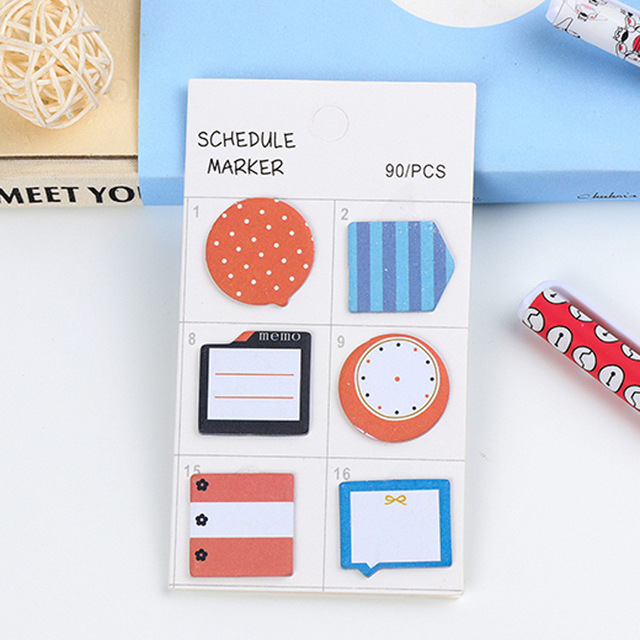 4Pack/Lot Wholesale Fashion Schedule Marker 4 Design Sticker Post It