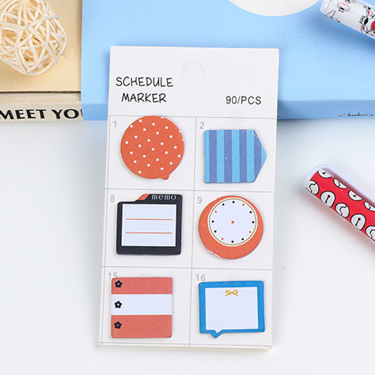 4Pack/Lot Wholesale Fashion Schedule Marker 4 Design Sticker Post It N Times Irregular Memo Pad Sticky School Label Gift E0058