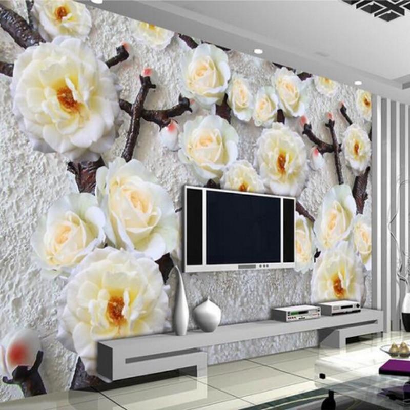 Custom Any Size 3D Stereoscopic Relief Flower Non-woven Wallpaper Modern Living Room Bedroom Background Mural Photo Wallpaper