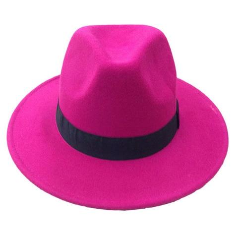 14 Colors Wool Trilby Caps For Men Women Vintage Fedoras Panama Hats With Black Ribbon los sombreros de ala de lana YY0399 Karachi
