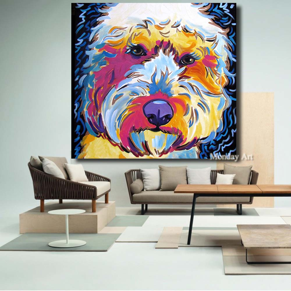 Pop Art Animal Golden doodle Dog 100% handpainted dog Oil Painting Wall Painting on Canvas Artwork for Living Room Home Decor