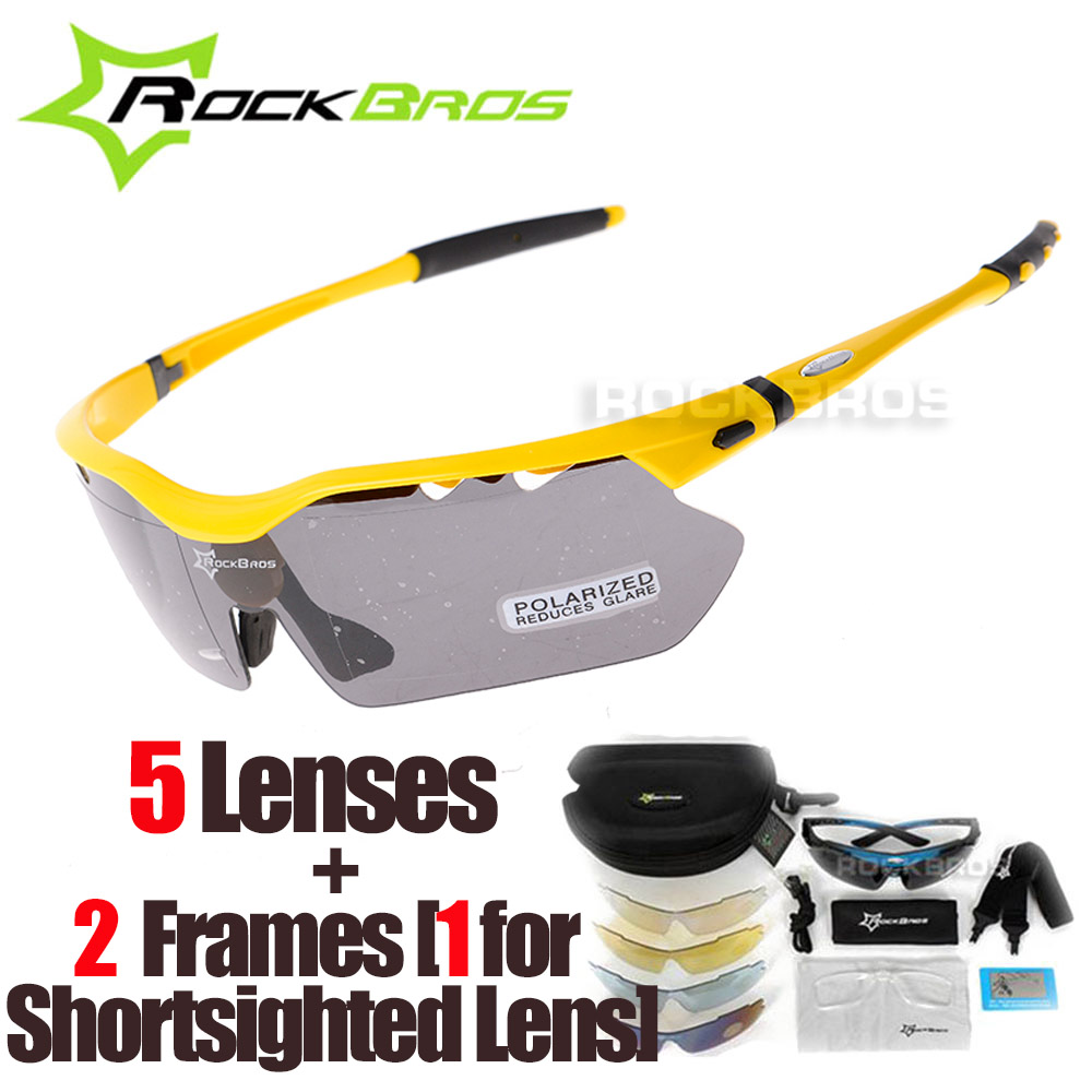 RockBros Polarized 5 Lenses Cycling Glasses with Myopia Frame Bike Eyewear Bicycle Glasses Sunglasses for Riding Sport Men Women