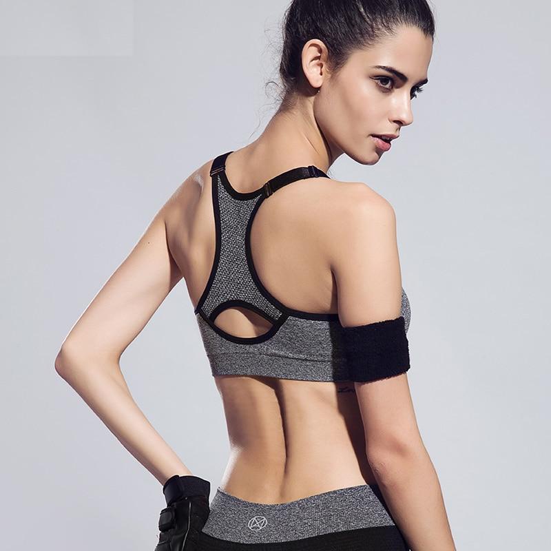Frauen verstellbarer Schultergurt Shakeproof Sport-BH Volltonfarbe - Sportbekleidung und Accessoires - Foto 4