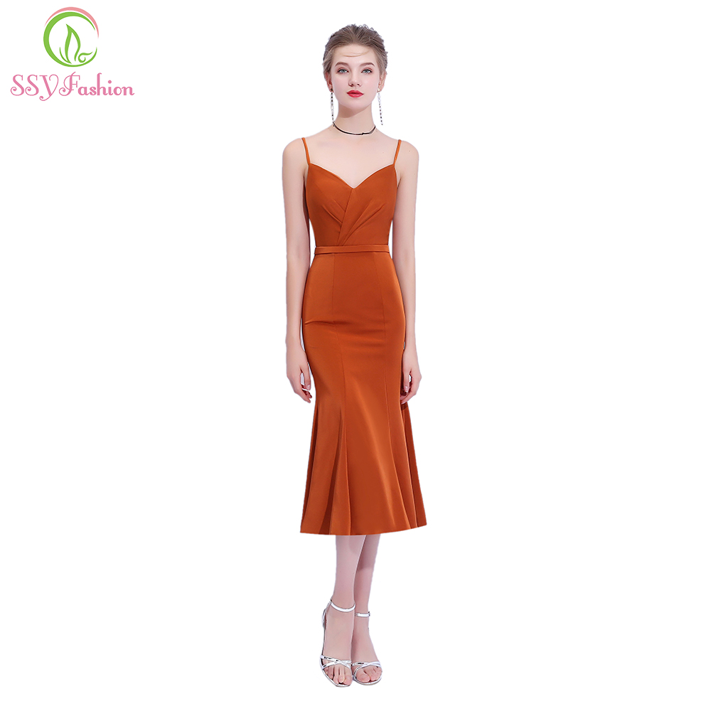 SSYFashion New Simple Caramel Colour   Cocktail     Dress   Sexy V-neck Backless Sleeveless Tea-length Party Formal Gown Robe De Soiree