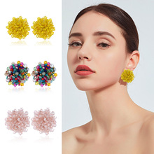 Earring Handmade Bohemian fashion Multicolor glass beads exaggerated rice earrings