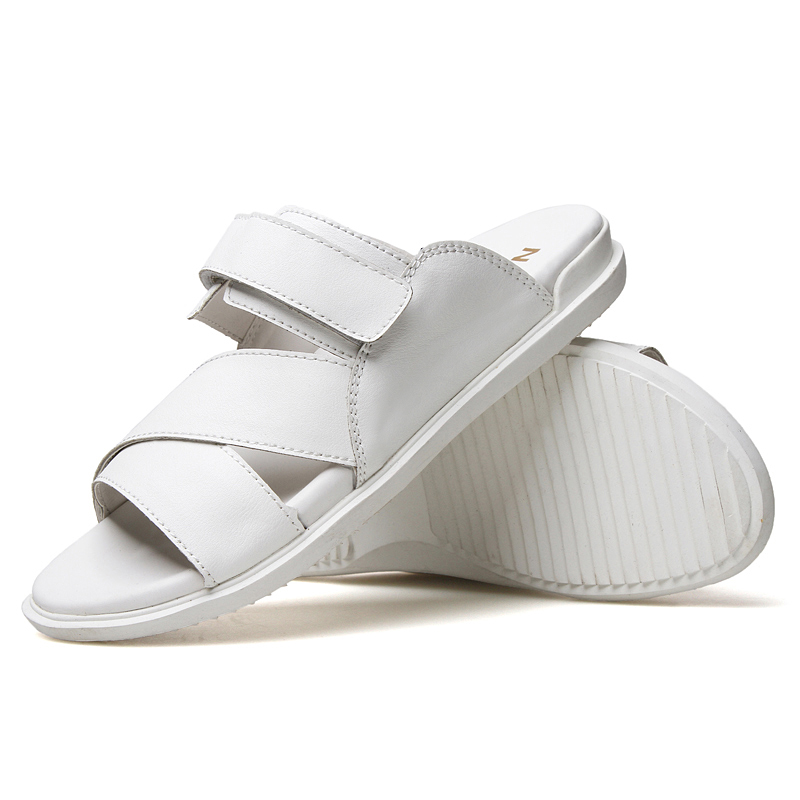 half off 8d486 4c5f1 2017 Leather Sandals Men Black White Slippers Casual Flat Sandals New  Summer Beach Slippers Men Comfort Design Flip Flops Shoes-in Slippers from  Shoes on ...