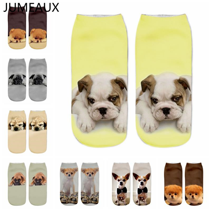 JUMEAUX Fashion Cute 3D Print Dog Women   Socks   Casual Unisex Short Ankle   Socks   Funny Doggy   Socks   New Arrival
