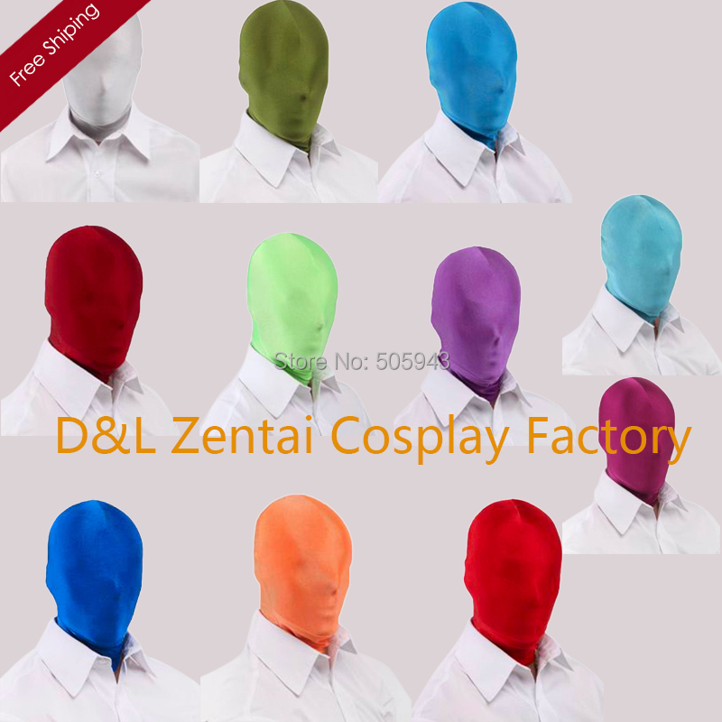 Free Shipping DHL Zentai Suit Hood Halloween Lycra Spandex Zentai Fashion Colorful Full Mask Available For 11 Colors MK-07