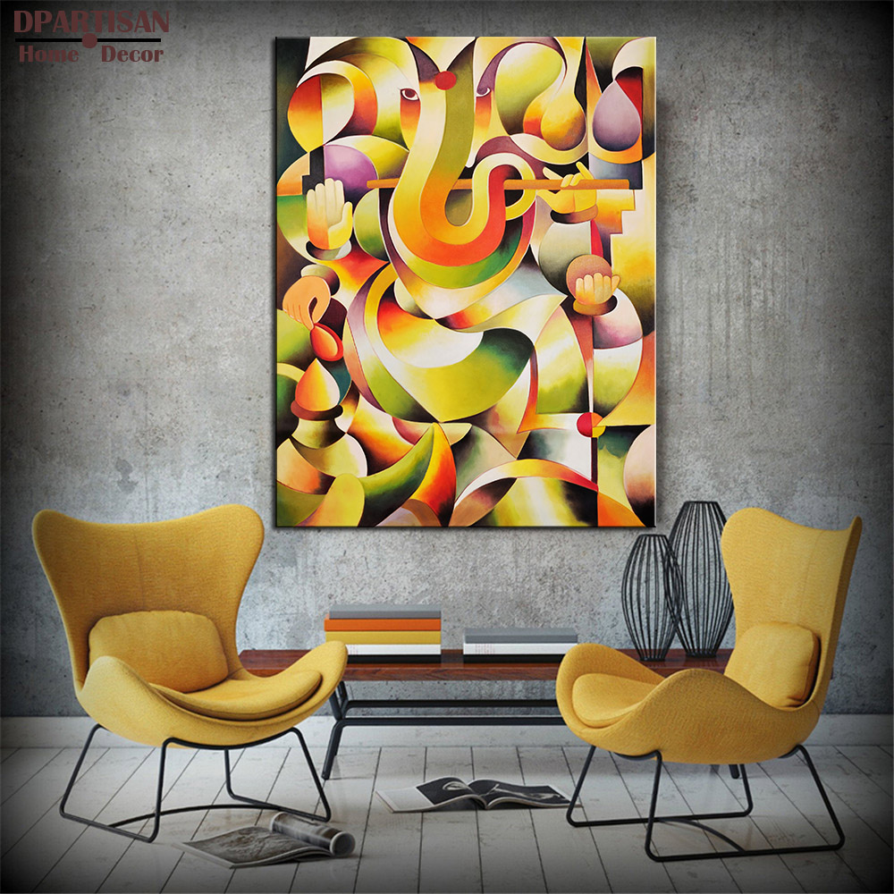 100% Hand painted Om Ganesha Ganpati Oil Painting On Canvas Abstract ...