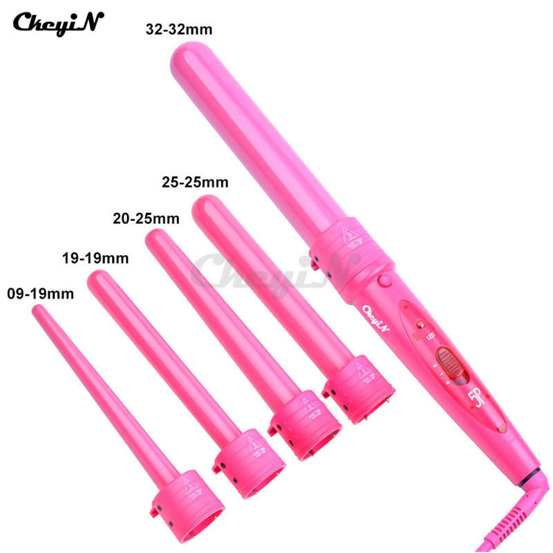 ФОТО Pro 09-32mm 5 size Hair Curling Iron with Glove Cylindrical 5 Curling Irons Wand 5P Ceramic Perm Hair Curler Wand Rollers A3940