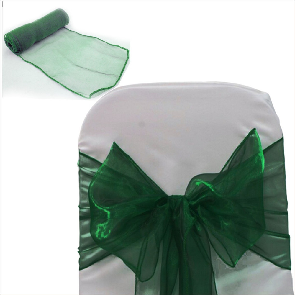 New Arrival Color Dark Green Organza Chair Sash Bow For Wedding Party Decorations Reception Favors