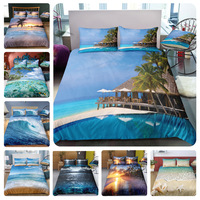 Holiday theme US size duvet cover set tree sea beach Bed linen blue fish bedclothes 3D sunset holiday vacation hotel bedding set