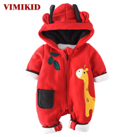 VIMIKID Newborn Baby Girls Boys Clothing Romper Lovely Cotton Long Sleeve Zipper Cartoon Image Of Warm