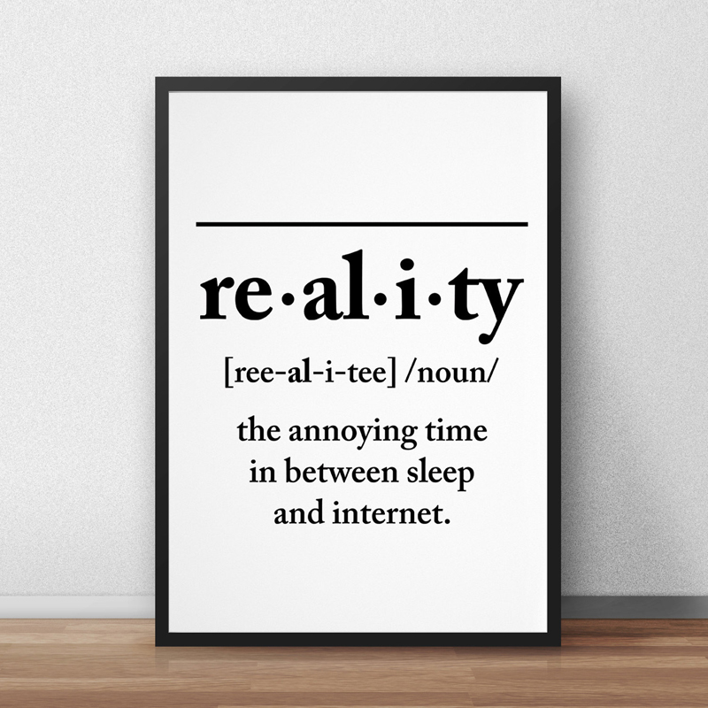 definition funny wall posters typography prints reality printable decor canvas poster painting calligraphy font