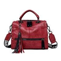 Vintage Women's Genuine Leather Handbags Fashion Tassel Shoulder CrossBody Bags Ladies Messenger Bags Women Tote Bags Bolsas