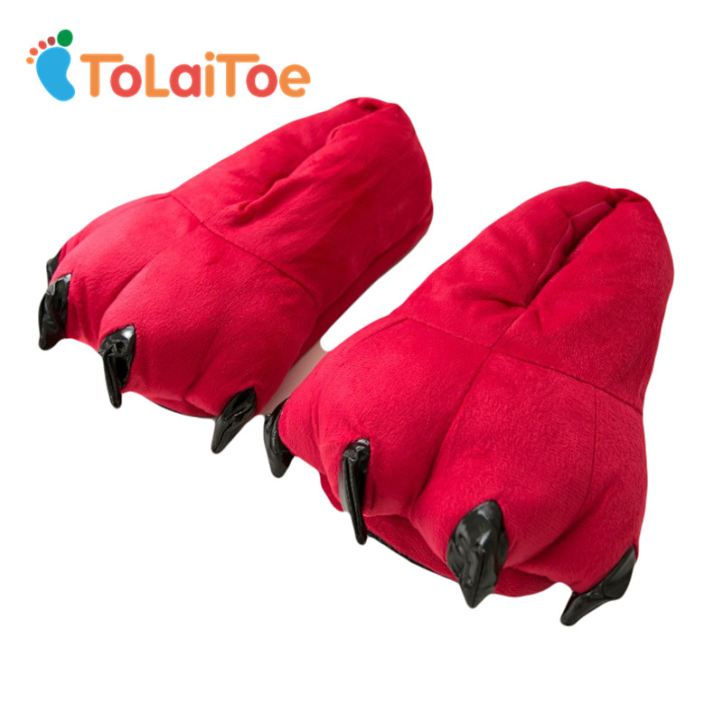 ToLaiToe Free Shipping Funny Animal Paw Slippers Cute Monster Claw Slippers Cartoon Slipper Warm Soft Plush Winter Indoor Shoes tolaitoe autumn winter animals fox household slippers soft soles floor with indoor slippers plush home slippers