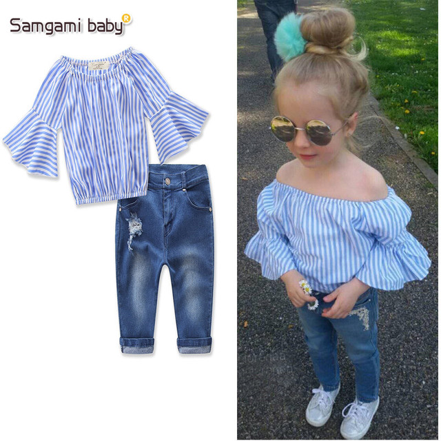 d23e9d584d93 SAMGAMI BABY Girl Clothing Sets 2018 New Summer Fashion Style kids Clothes  Striped Lotus sleeve Tops+Jeans 2Pcs Leisure Sui