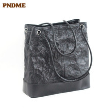 PNDME genuine leather handbags casual simple large-capacity shoulder bag hand pleated black Womens Tote