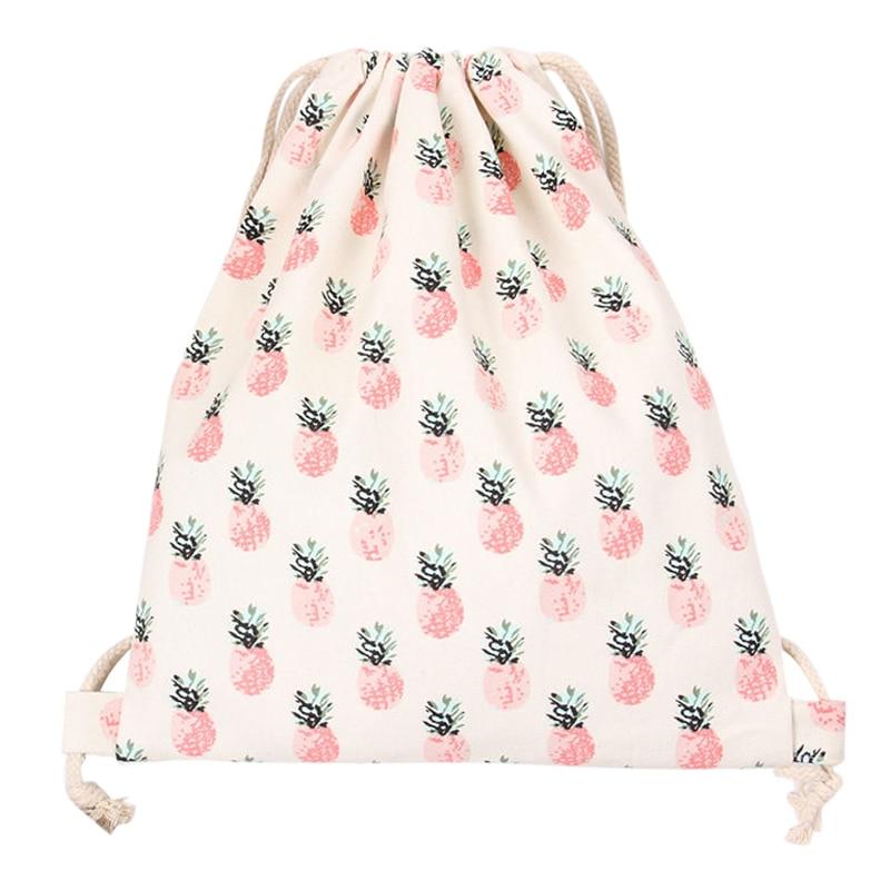 Cotton Travelling Drawstring Storage Bag Shoe Bag Backpack Pineapple
