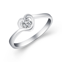 Luxury Brand Jewelry White Gold Color with Heart Shaped Inlay Cubic  Zirconia Ring for Women Party Size 5-10