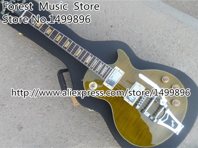 Cheap Top Selling Brown Tiger Flame Joe Bonamassa Silver Hardware LP Custom Electric Guitars with Bigsby