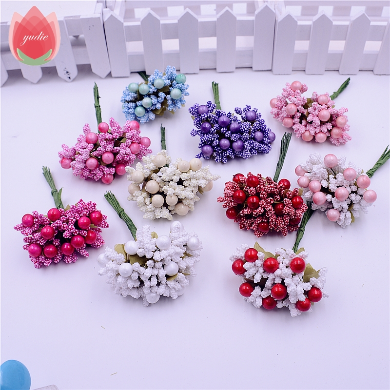 10pcs Foam Silk Stamen Handmade Artificial Berry Flowers Wedding Decoration DIY Wreath Gift Box Scrapbooking Craft Fake Flowers