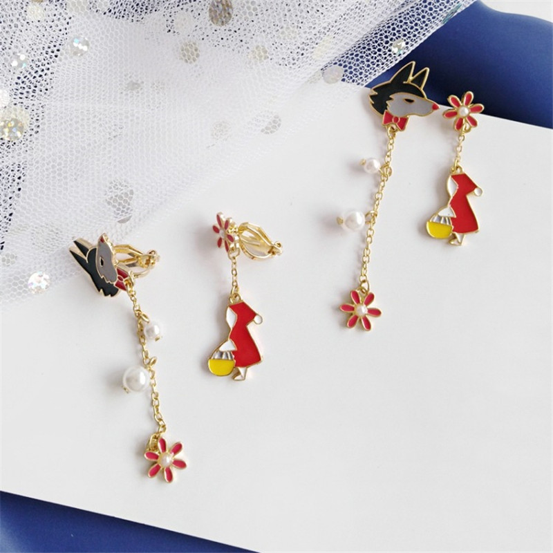 Fairy Tale Little Red Riding Hood And Big Wolf Cartoon Fashion Pearl Flowers Asymmetric Earrings Ear Clips Female Trendy Jewelry