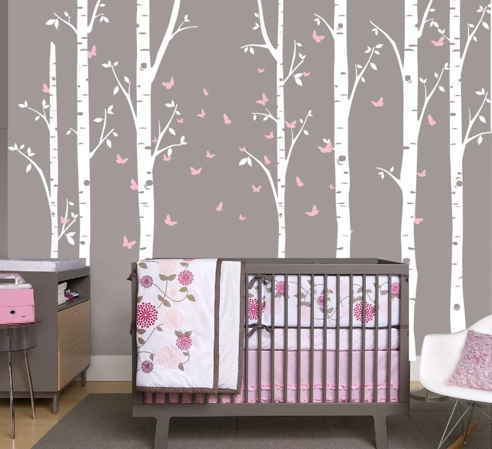 Sticker Mural vinyle autocollant pépinière grand bouleau 7 arbres avec papillon couleur personnalisée pour enfants bébé chambre décoration murale affiche W-16