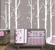 96 Large Birch Tree Branch Decal with Butterflies set of 7 Trees, Butterfly  Nursery Baby Room Wall Decoration W-16