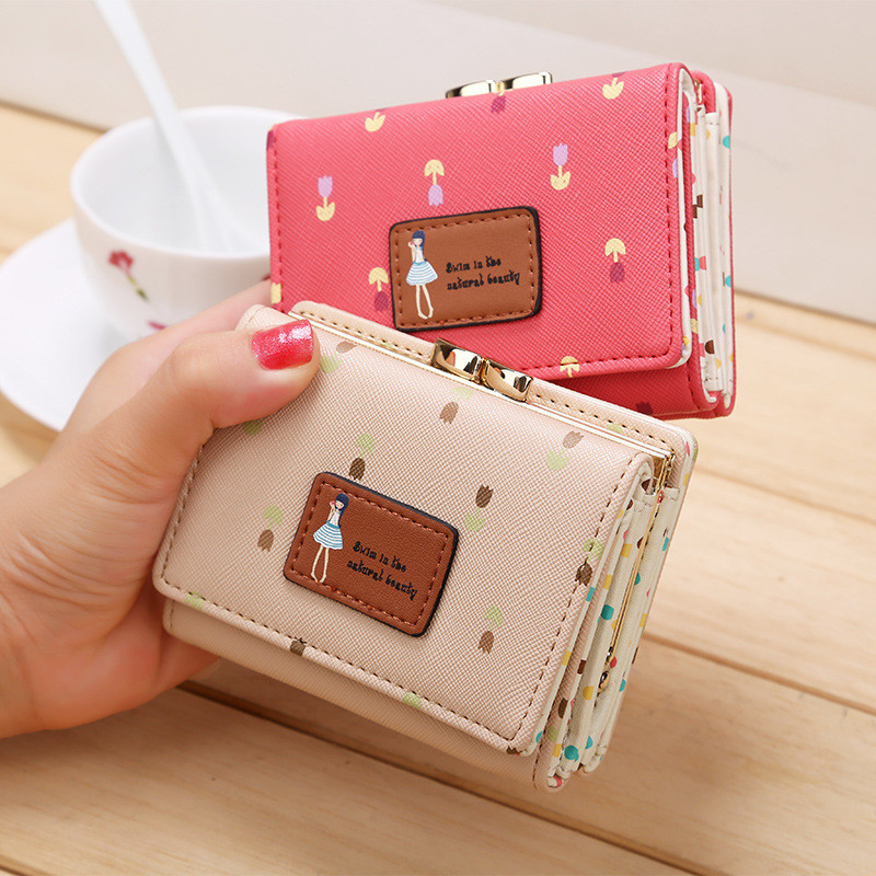 be5ba855e8f 2018 High Quality Brand 3 Fold Floral Wallet Women Girls Small Cion Purse  Lovely PU Leather Girls Wallet Female Coin Wallets