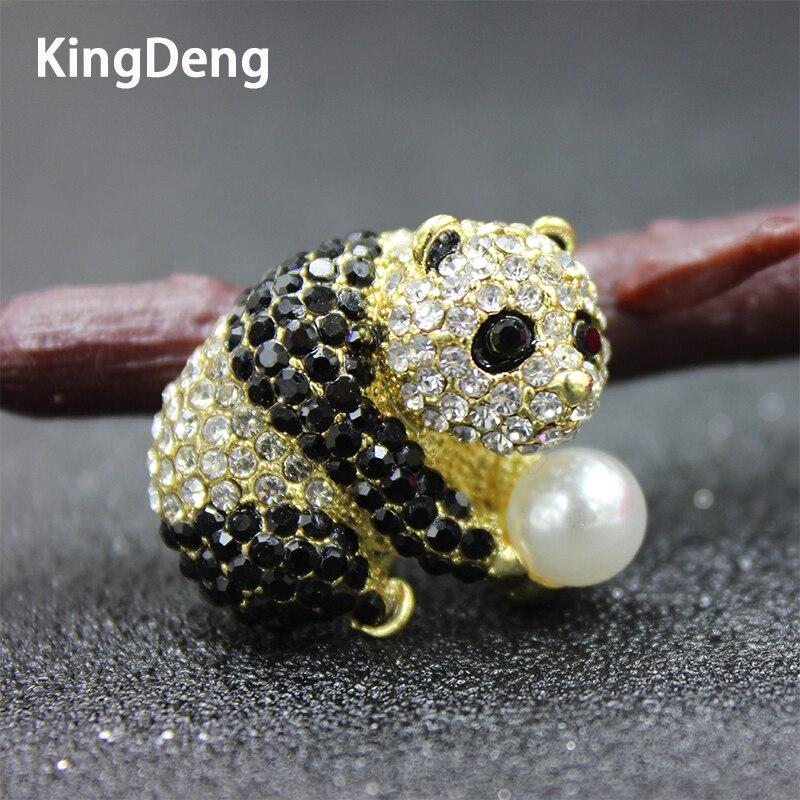 Panda Broches Para As Mulheres Acessórios Bonito Esmalte Pérola Pins Broches de Moda do Miúdo Do Vintage Karl Moda Nós Ursos Jóias
