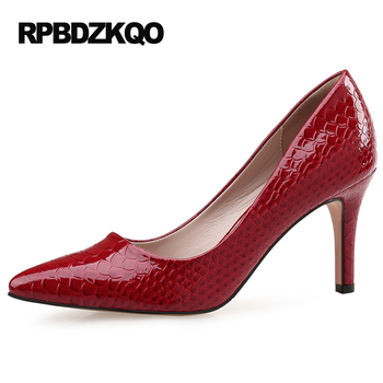 11 43 Thin Pumps Patent Leather Snakeskin Footwear Pointed Toe 2017 Shoes Big Size 8cm 3 Inch Party Red Fashion High Heels Wine