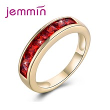 Jemmin Hot Fashion Women Wedding Jewelry Rings Silver 925 Diamond Rings Top Quality Cubic Zirconia Gold Color Rings Wholesale(China)